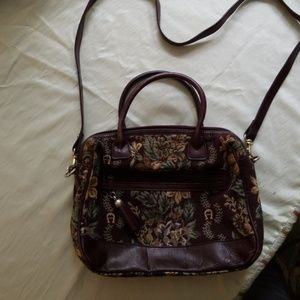 Etienne Aigner Tapestry and leather purse